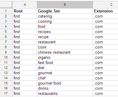 Google Sets Domain Research